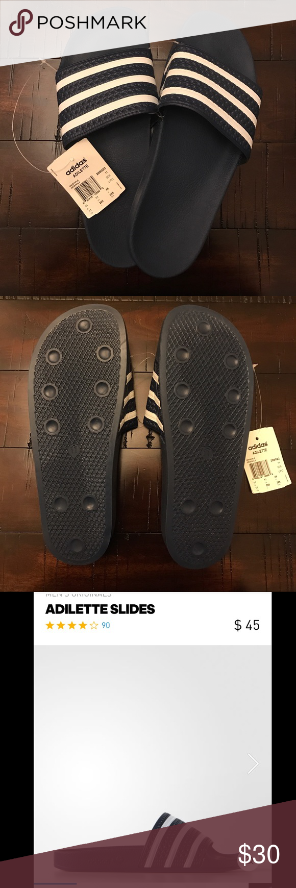 Adidas Adilette Originals adidas Adilette Originals in Navy! All offers will be considered. Brand new with Tags! Adidas Shoes Sandals & Flip-Flops