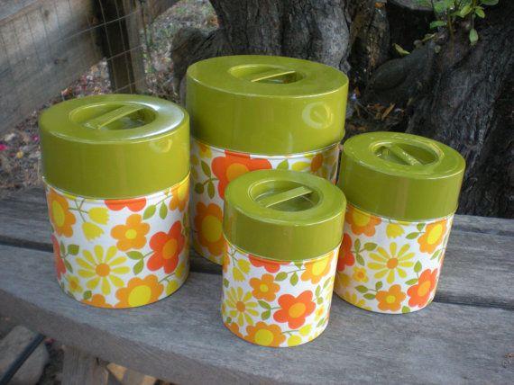 Canister Set Vintage Retro Nesting Tins Green Yellow Orange ...
