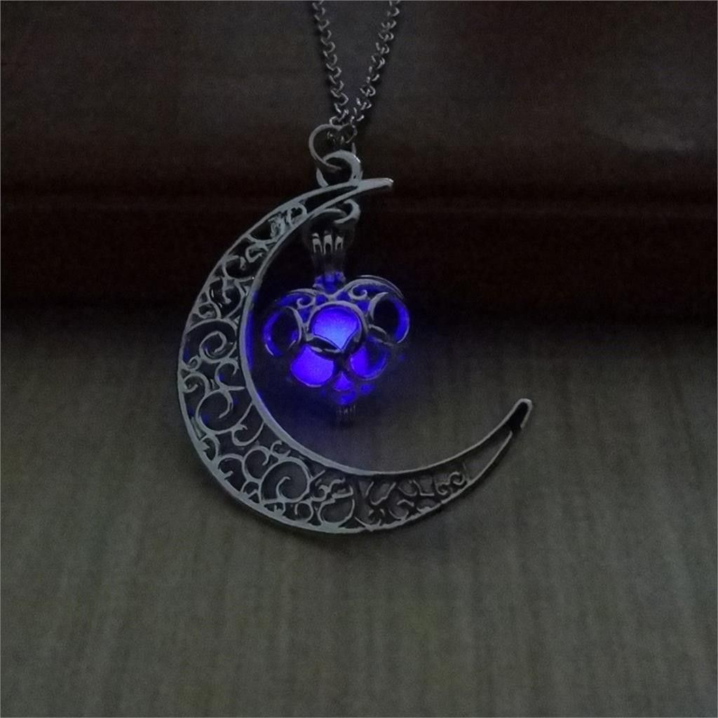 New Glow in the Dark Stainless Steel Chain Moon Crescent Necklace Pendant