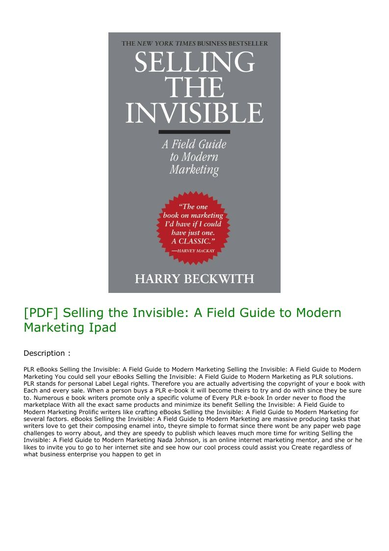 Pdf Selling The Invisible A Field Guide To Modern Marketing Ipad Field Guide Marketing Invisible