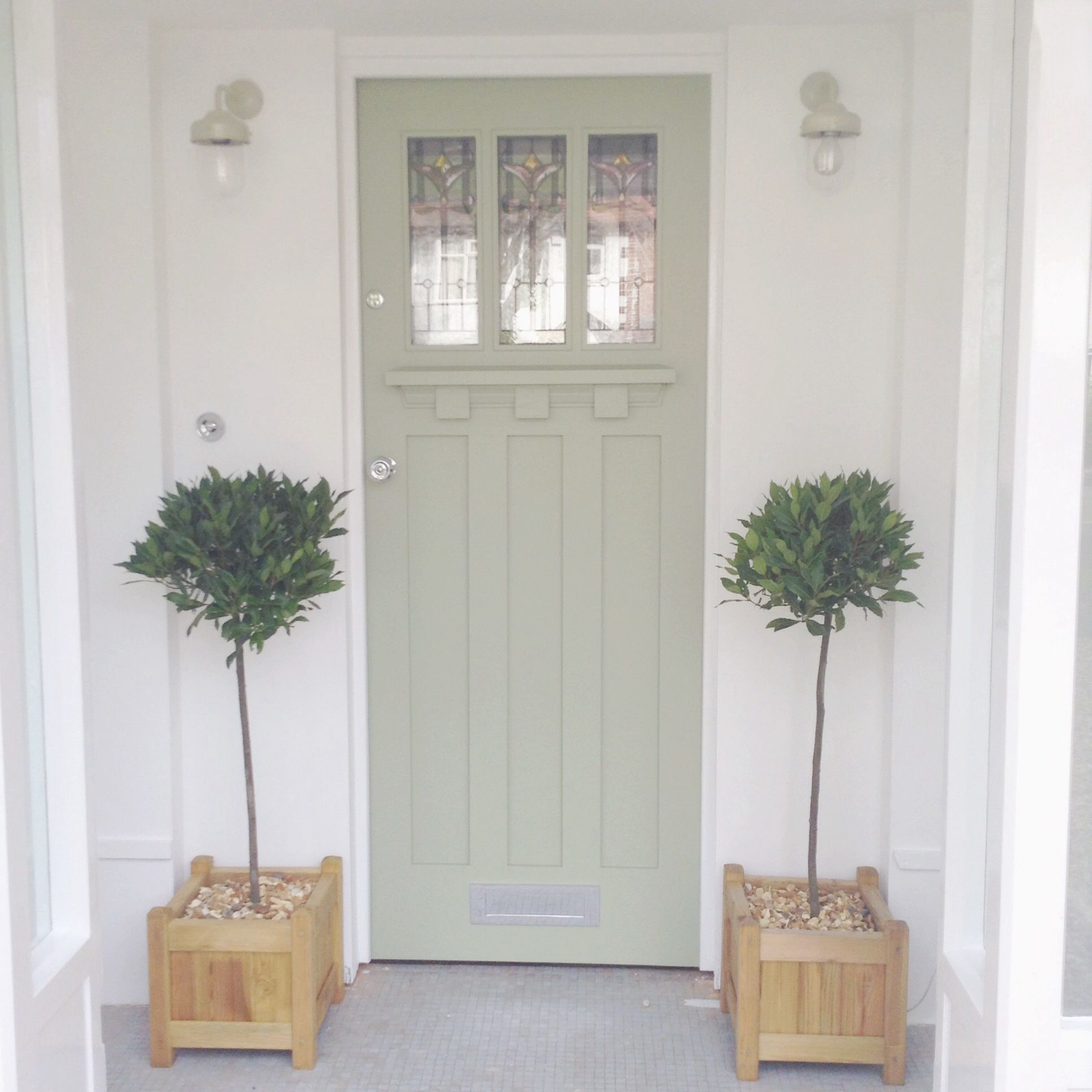 Front Door Painted In A Dulux Colour Match To Farrow And Ball Lichen