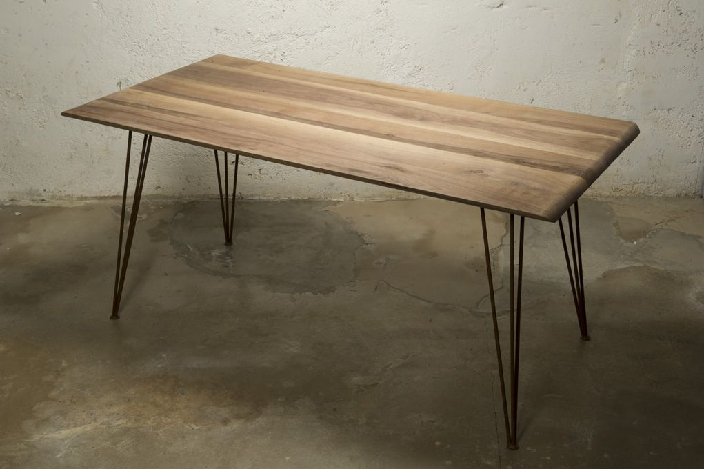 Tavolo Noce ~ Tavolo noce e ferro table top in solid wood with curved edges and