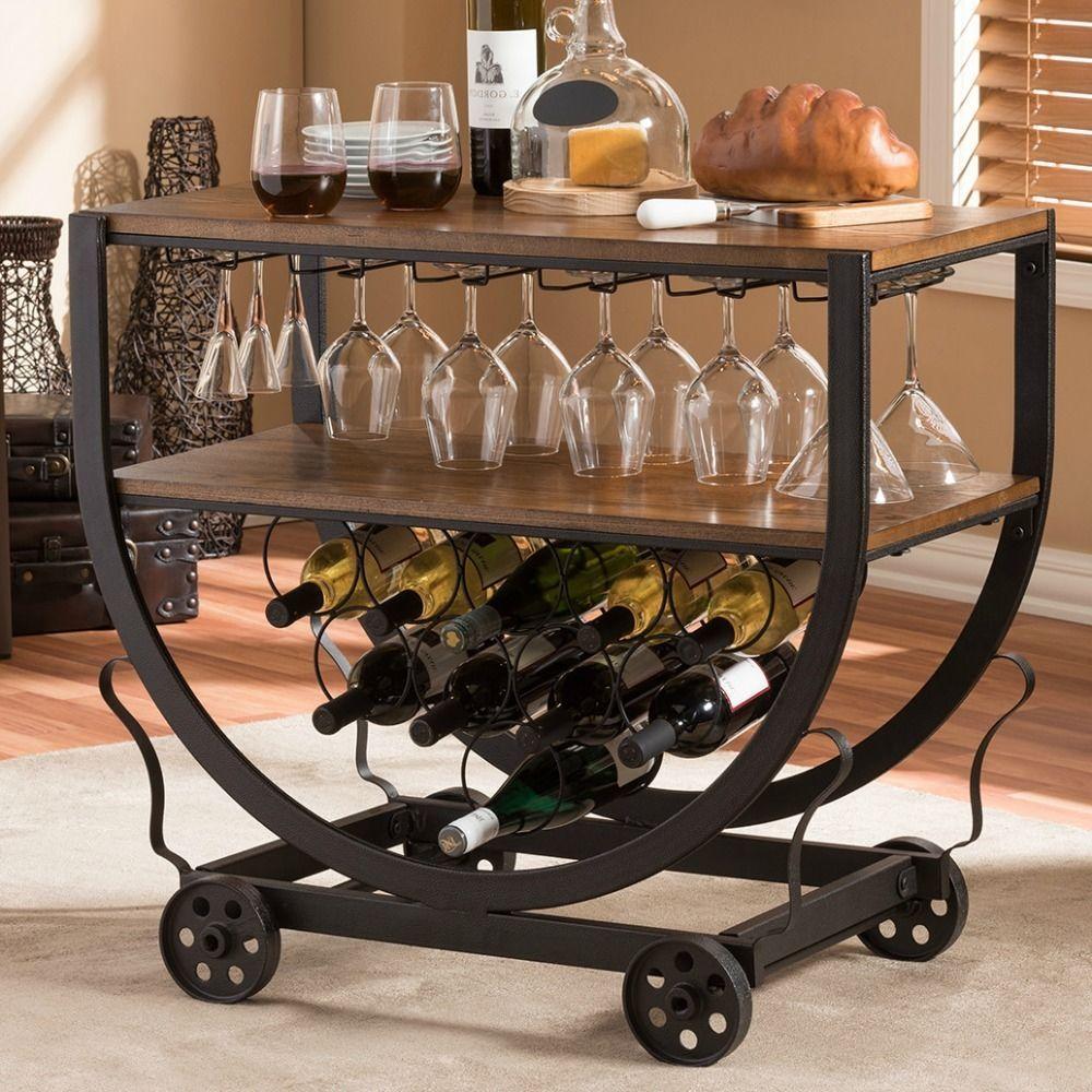 Rustic Industrial Style Bar Cart Wine Rack Home Pub Wood