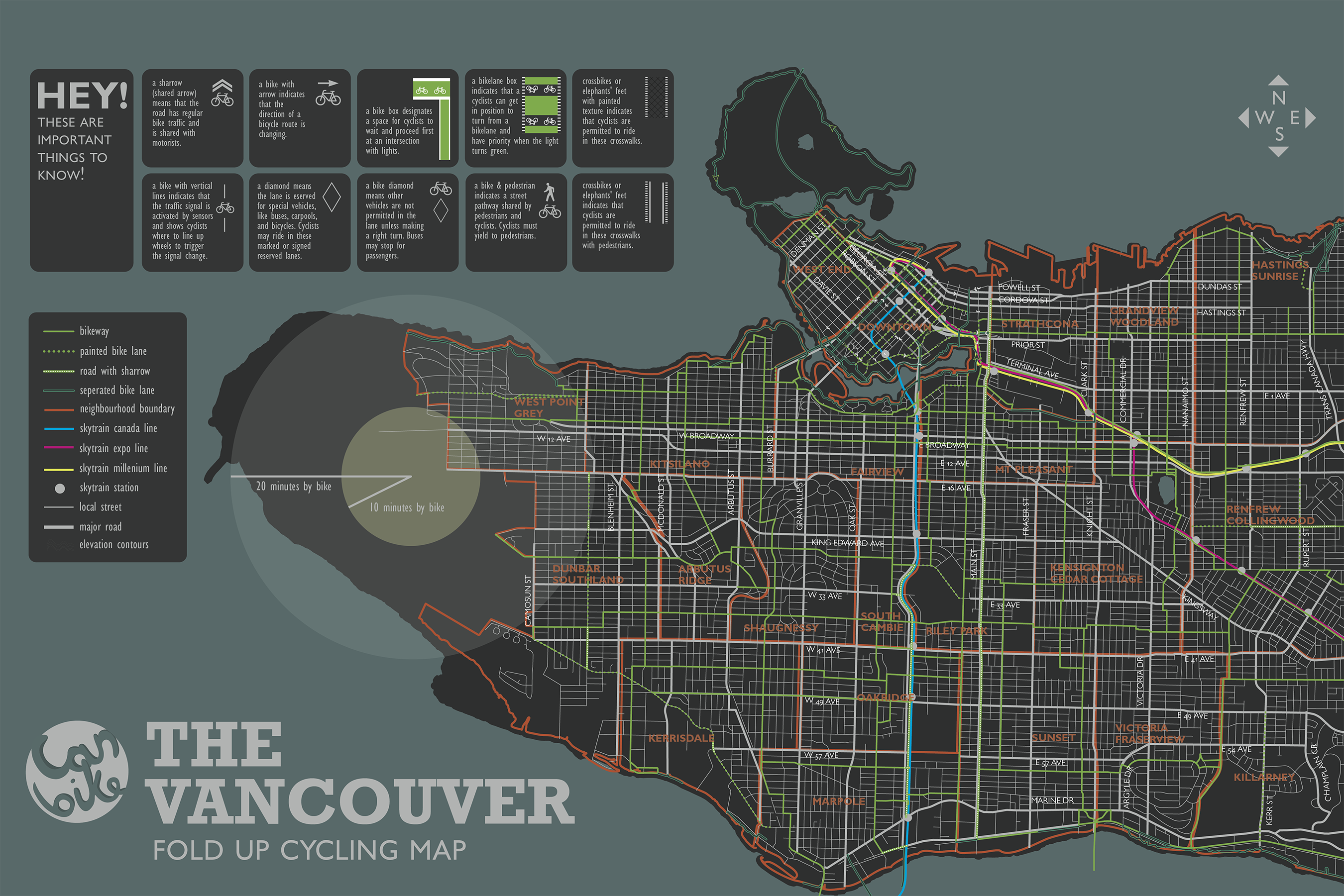 Color printing downtown vancouver - A Print Media Map Of Vancouver S Alternative Transport Network Including Cycling And Train Infrastructure Interactive