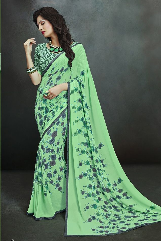 1caf2458995e28 Buy Online Printed Sarees, shari, Light Green Color, Georgette Material,  Party Wear