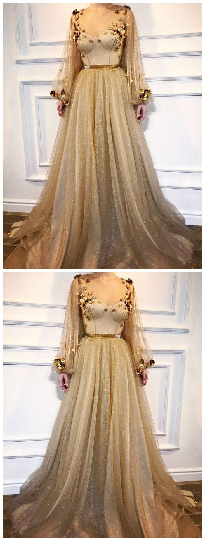 chic aline scoop prom dresses with sleeve gold long prom dress