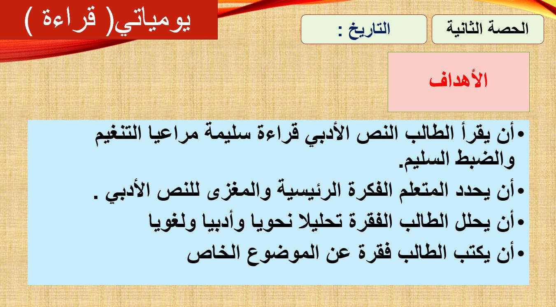 بوربوينت قراءة يومياتي لغير الناطقين بها للصف التاسع مادة اللغة العربية Language Boarding Pass