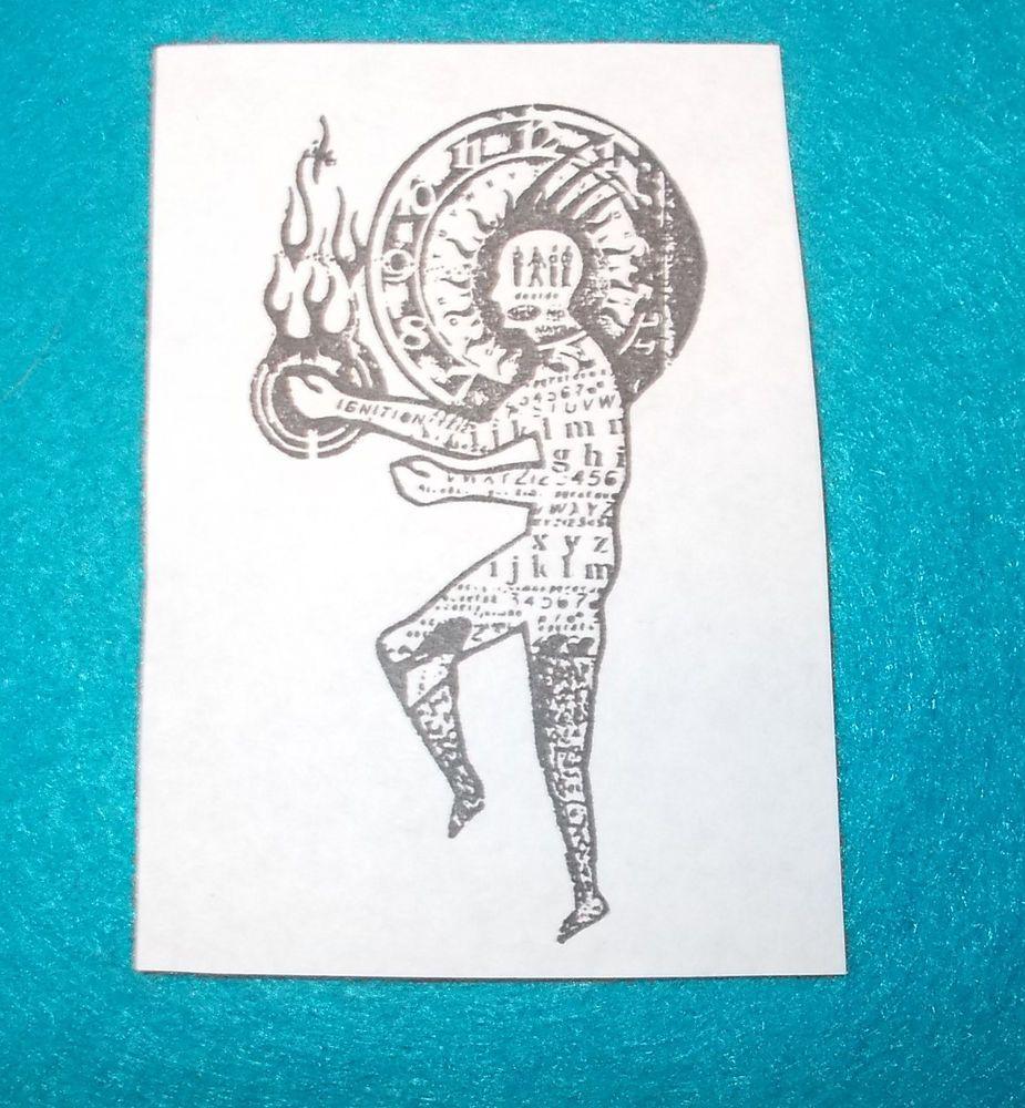 Fire man rubber stamp unmounted die collage text spirit men male