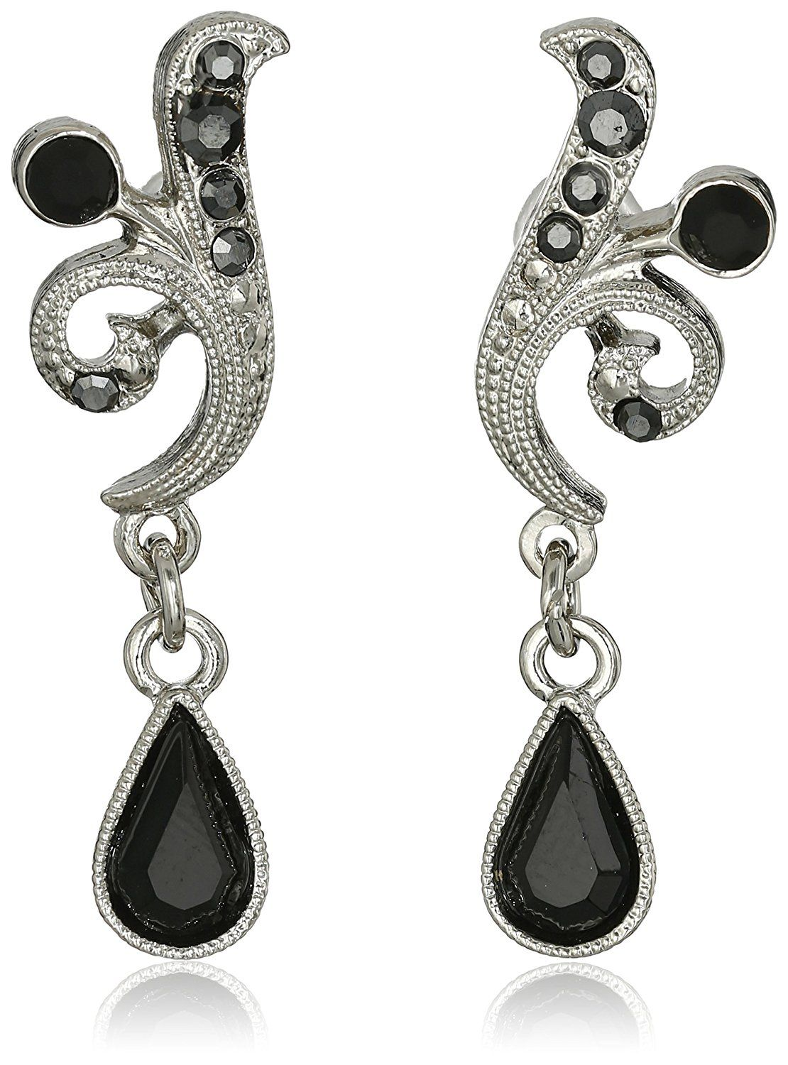 1920s Accessories 1928 Jewelry Silver Tone Black And Hemae Color Crystal Vine Drop Earrings 21 00