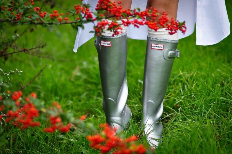 Monday in Hunters Silver & white | Hunter boots outfit