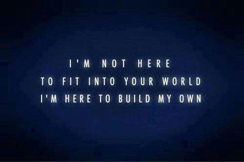 Not here to fit into your world
