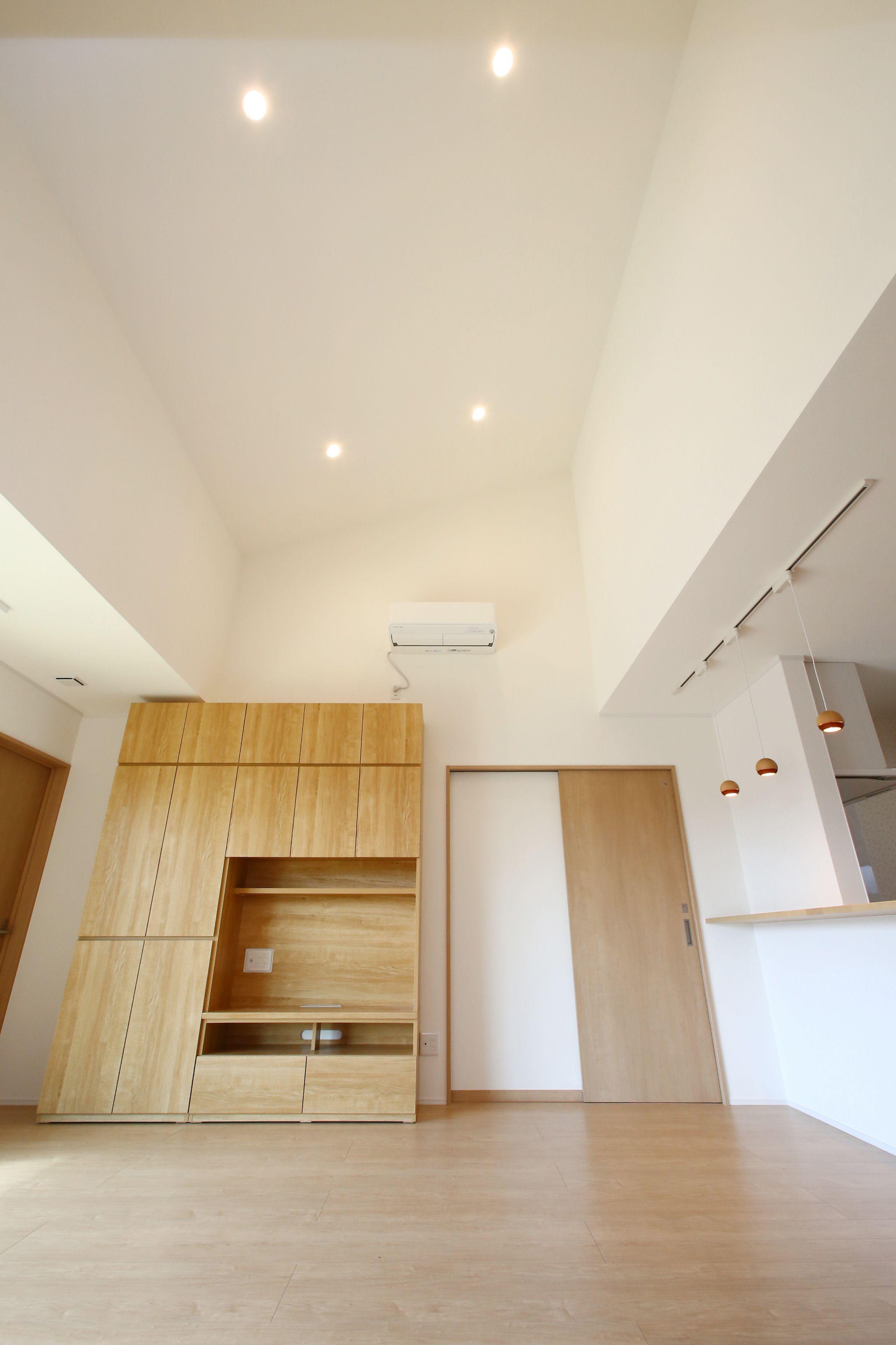 Ldkの一部を勾配天井にしてひろびろと開放的な空間に 建築実例 Ldk