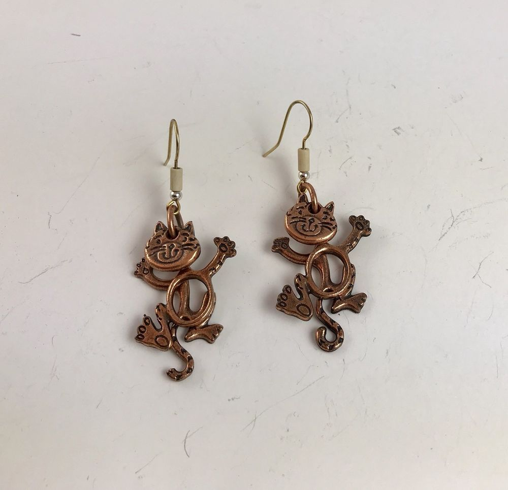 Whimsical Copper Moving Cat Dangle Drop Earrings with Gold Tone Ear ...