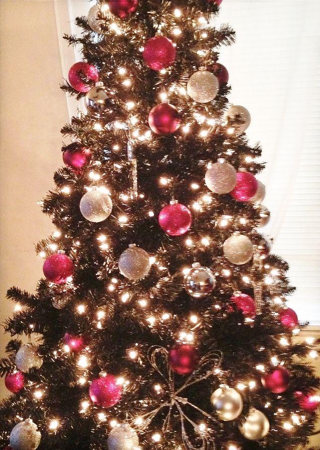 Black Christmas Tree Hot Pink Silver Bulbs Christmas Tree