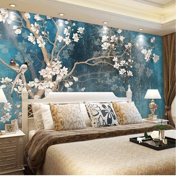 Blue Color Magnolia Flowers Wallpaper Wall Murals, Birds&Flowers Tree Hand Painting Classic Vintage Wall Decal Wall Stickers