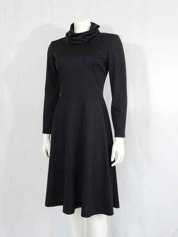 4b3e5c5978be Vintage Dress 1970s Seventies Black Cowl Neck 10 Small S Polyester Knit A  Line Long Sleeve Career Ex