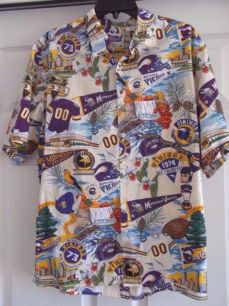 235dafc88 Vtg Ltd Ed Reyn Spooner NFL Hawaiian Shirt SZ L MINNESOTA VIKINGS golf  football  ReynSpooner  MinnesotaVikings