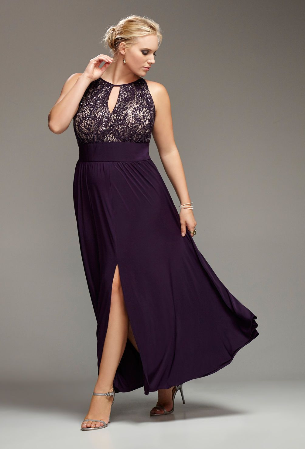 Plum Lace Halter Gown-Plus Size Special Occasion Gown-Avenue | It\'s ...