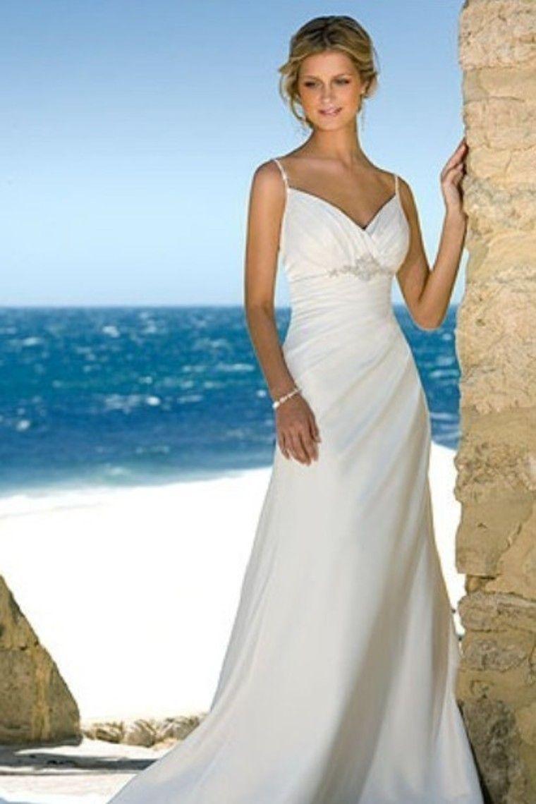 2012 Wedding Dresses A Line Spaghetti Straps Sweep/Brush Train ...