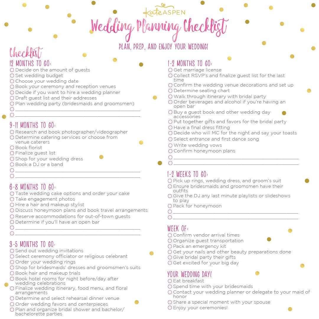 Wedding Planner Printable Wedding Planning Checklist
