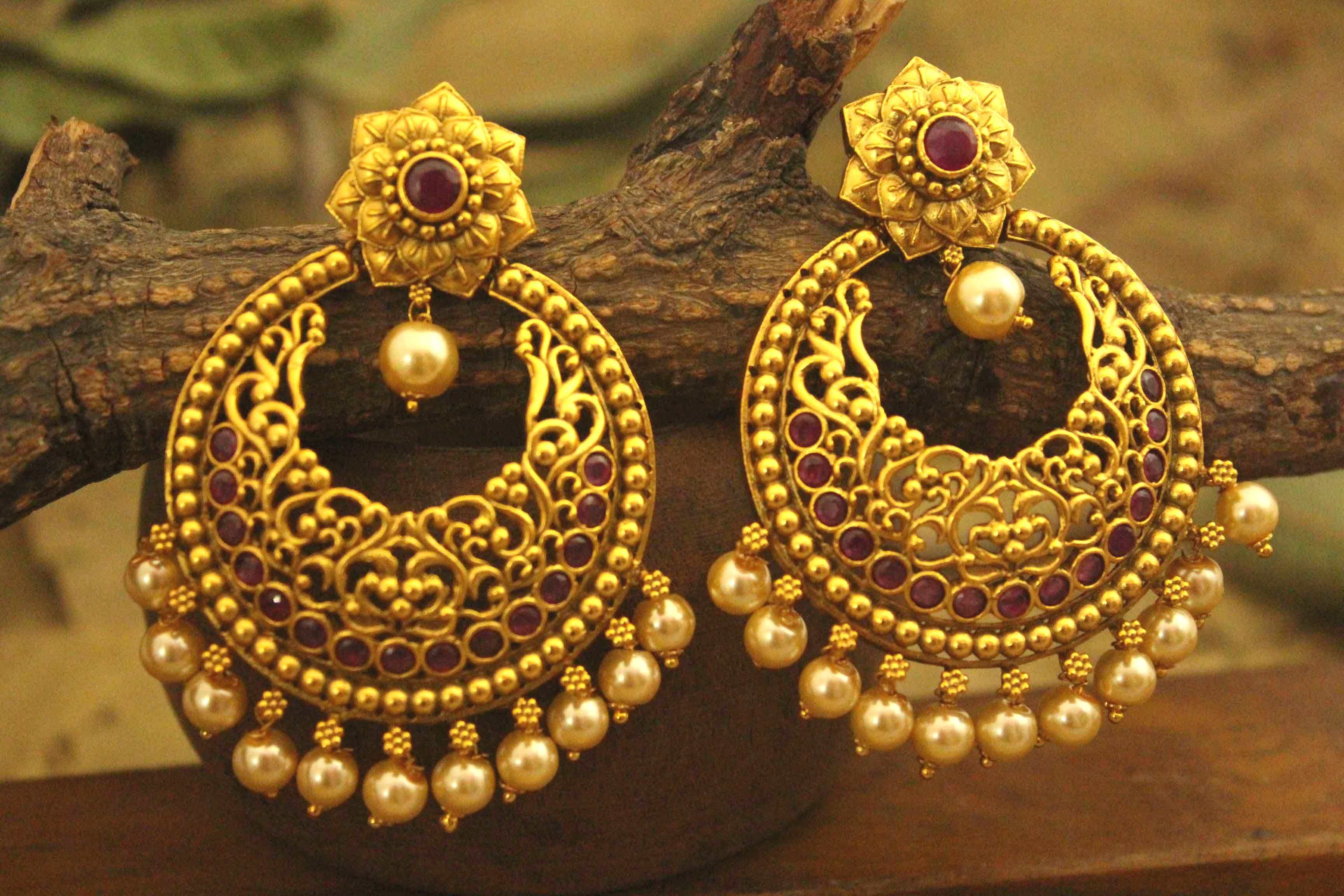 bbb08c57252 Antique Earrings shows pure Indian designer work with unique look.It  complements the designer attires for occasions . This is golden designer  earrings.