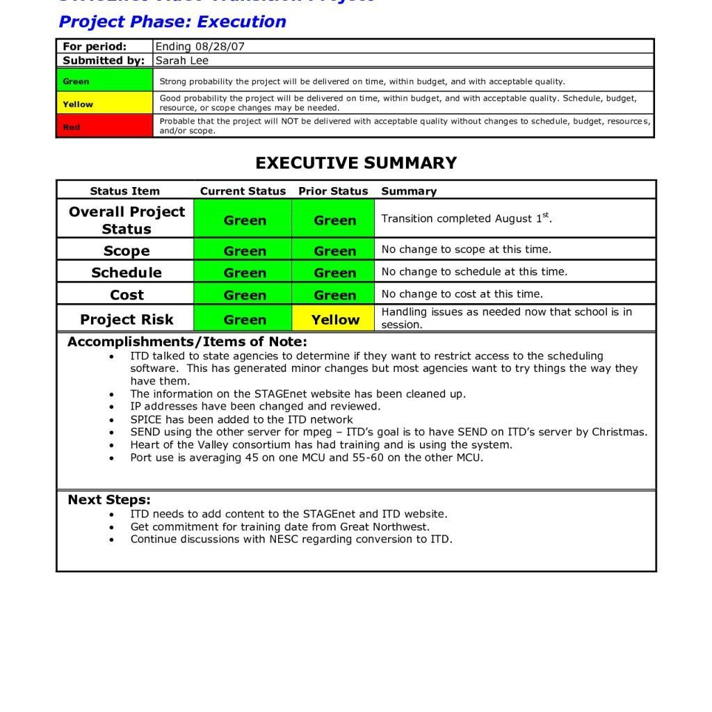 The Astounding Report Examples Project Status Sample Template Excel Within Executive Summary P Project Status Report Executive Summary Template Report Template