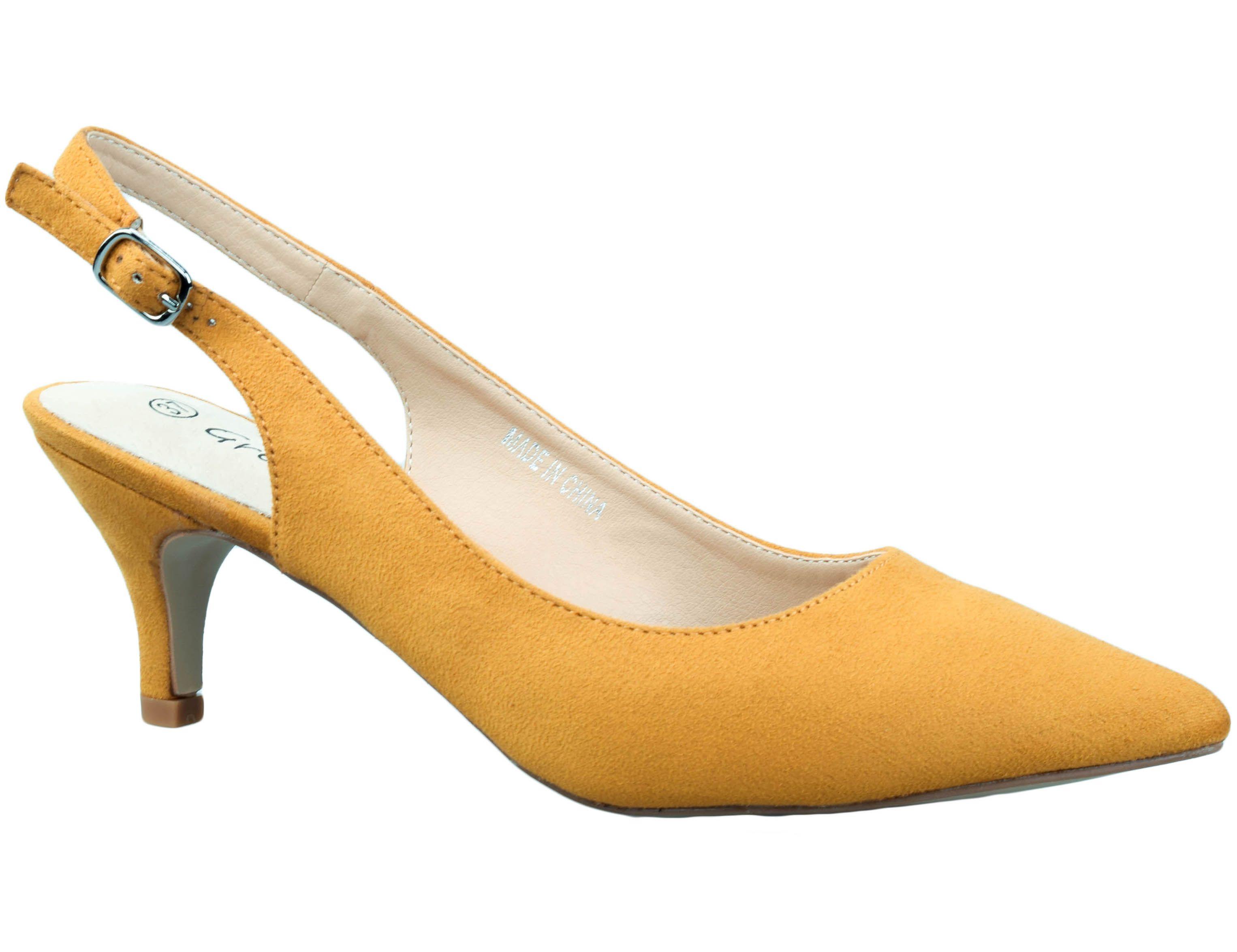 db31b048828 Greatonu Womens Yellow Wedding Sexy Pointed Closed Toe Comfortable  Slingback Pumps