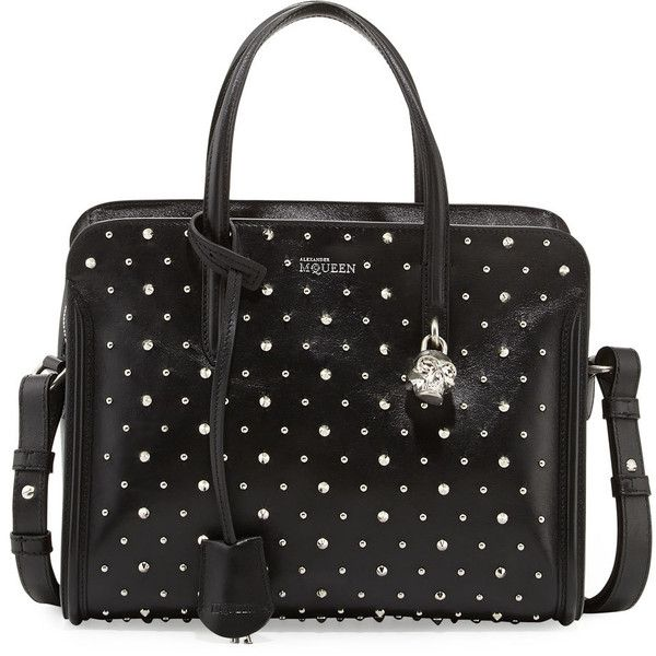 Studded Padlock Small Satchel Bag, Black - Alexander McQueen