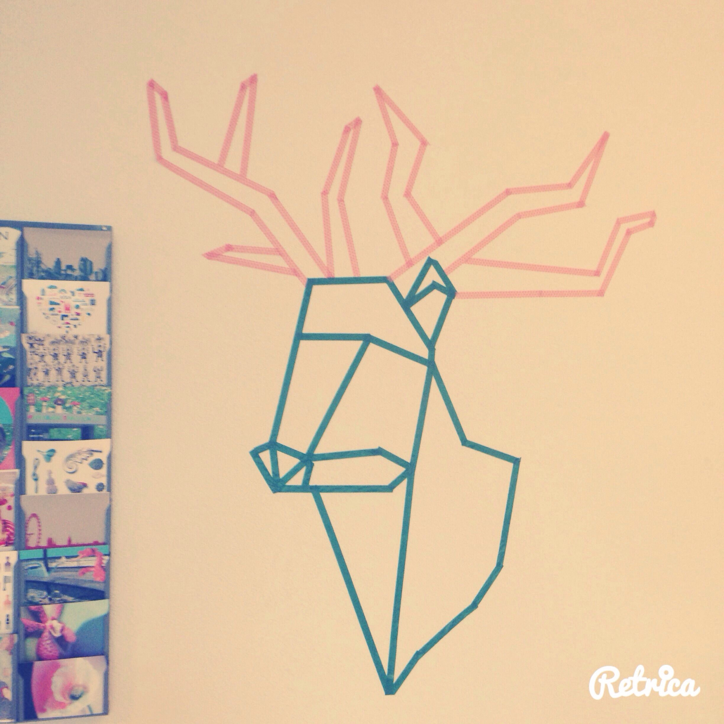 Reindeer Washi Tape-Wall Art | diy | Pinterest | Tape wall art ...