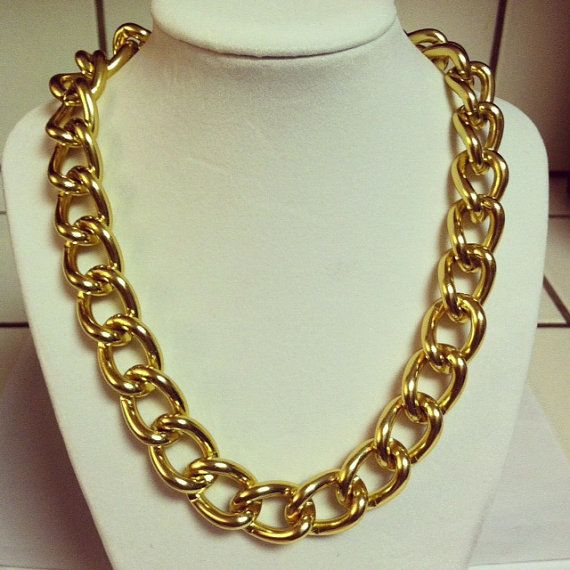 Gold+chain+necklace+chunky+gold+chain+link+by+McIntoshJewelry,+$25.00