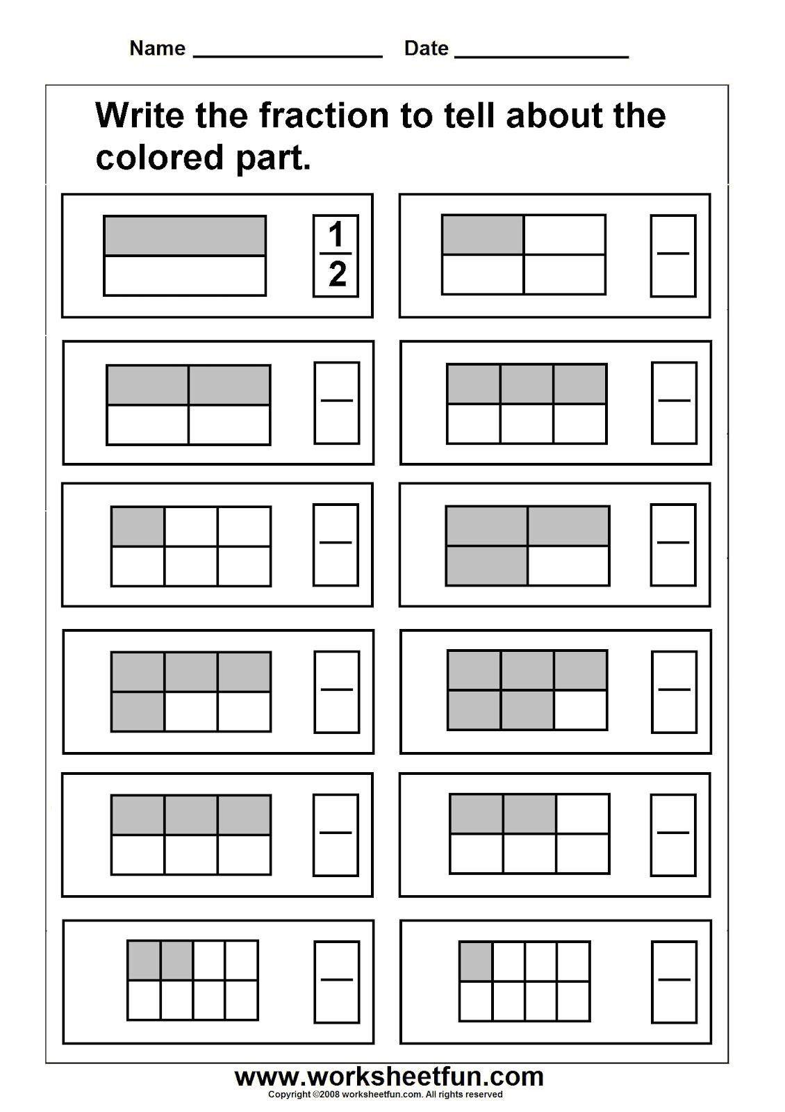2nd Grade Fractions Worksheet Third Grade Fraction