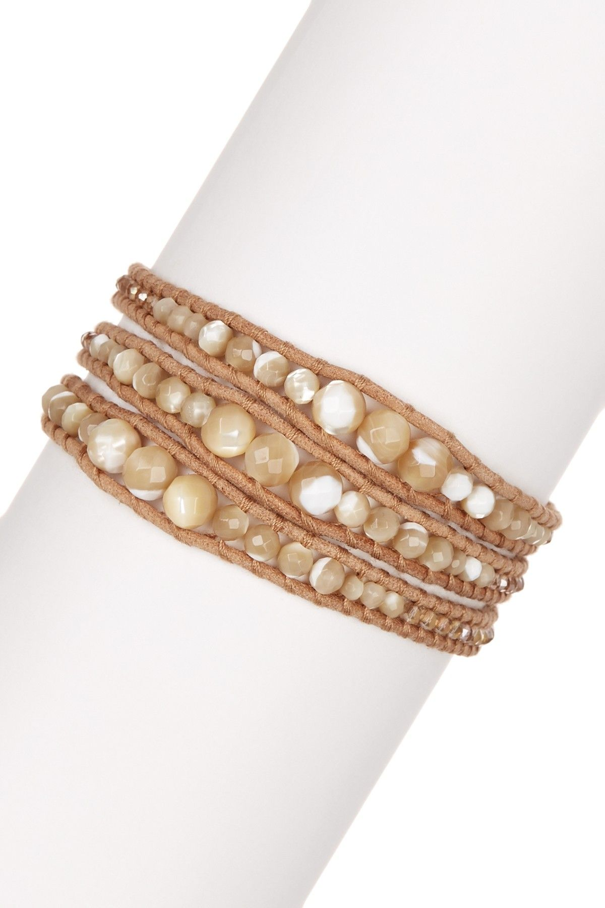 Chinese Crystal & Natural Mother of Pearl Beaded Wrap Bracelet by Chan Luu…