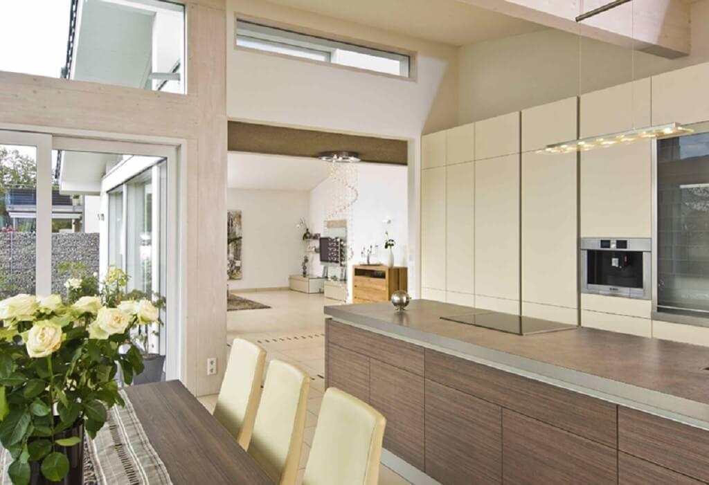 Offene küche modern mit kücheninsel und esstisch einrichtungsideen haus bungalow glano kampa haus fertighaus ideen hausbaudirekt de