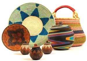 A Grouping Of African Baskets From Baskets Of Africa. Namibian, Ugandan,  South African