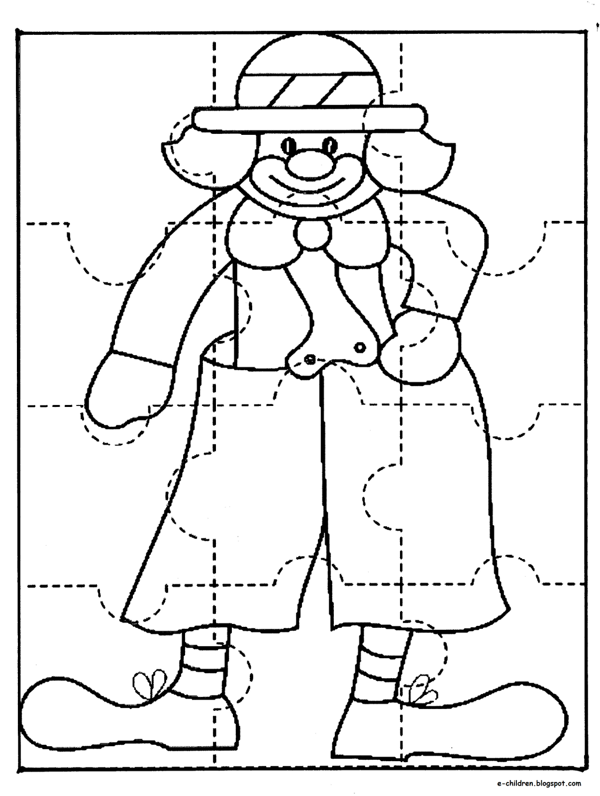 Puzzle de clown coloriage pinterest casse t te pouvantails et cirque - Puzzle a colorier ...