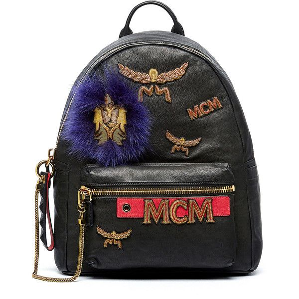 MCM Stark Men's Leather Insignia Backpack ($2,610) ❤ liked on Polyvore featuring men's fashion, men's bags, men's backpacks, black, mens backpacks and mens leather backpack