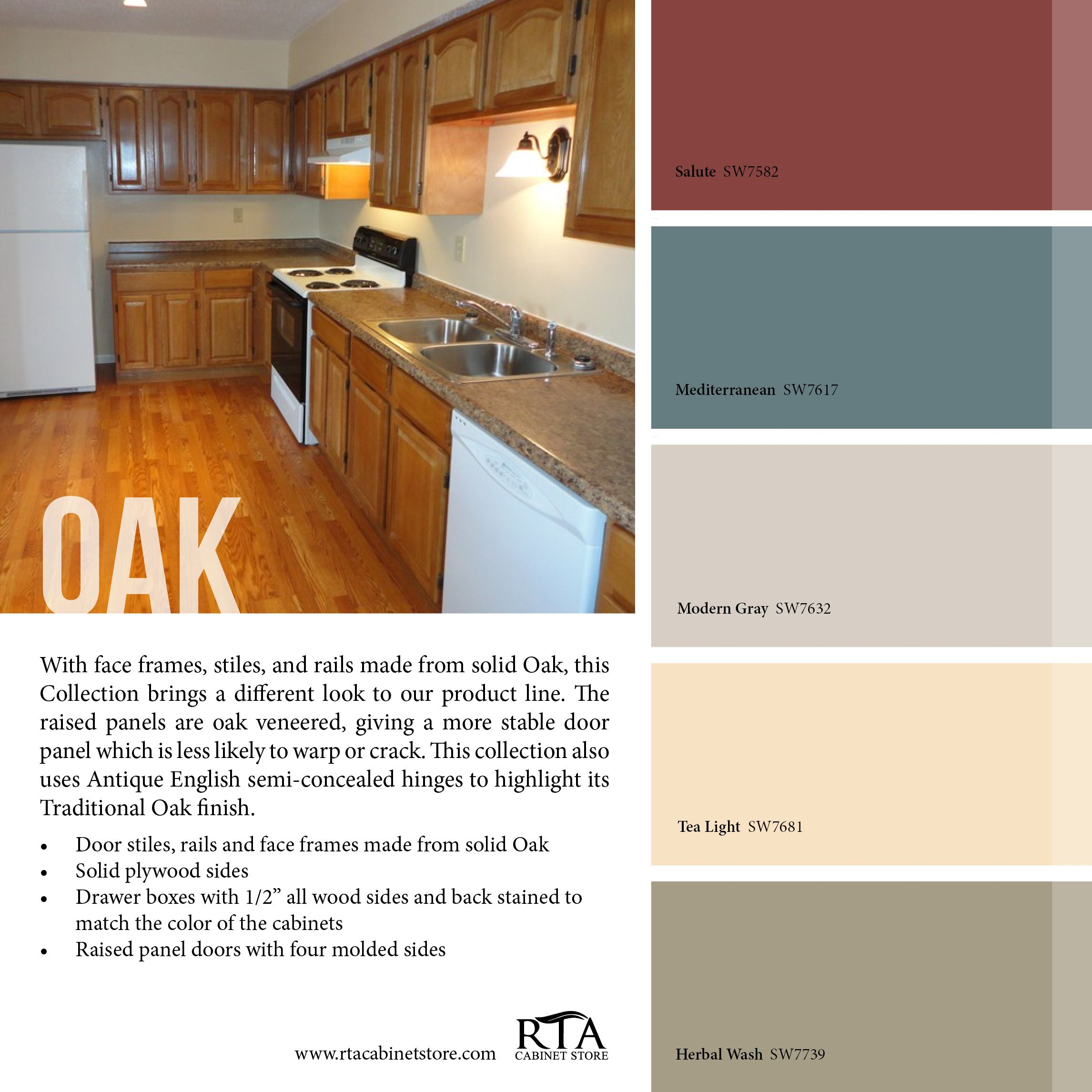 Color palette to go with our oak kitchen cabinet line for Best paint for kitchen walls