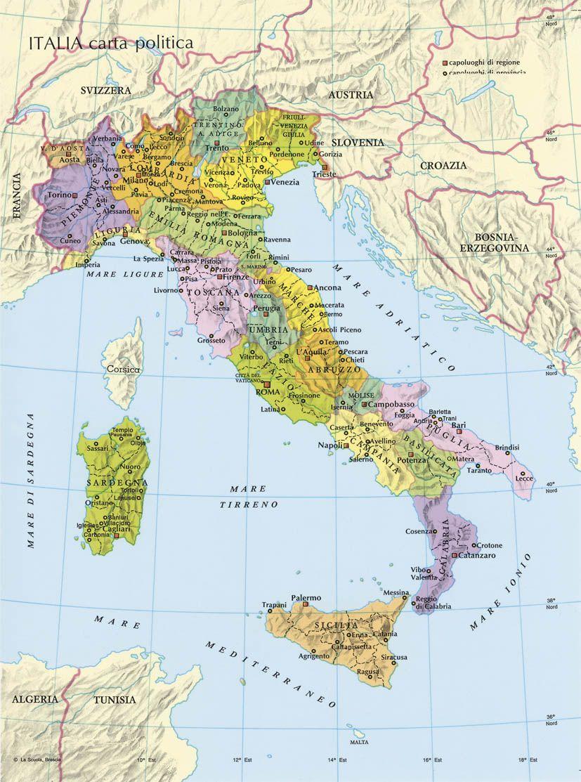 Cartina Dellitalia In Scala.Italia Mappa Politica Mappa Dell Italia Mappa Ricordi Di Scuola