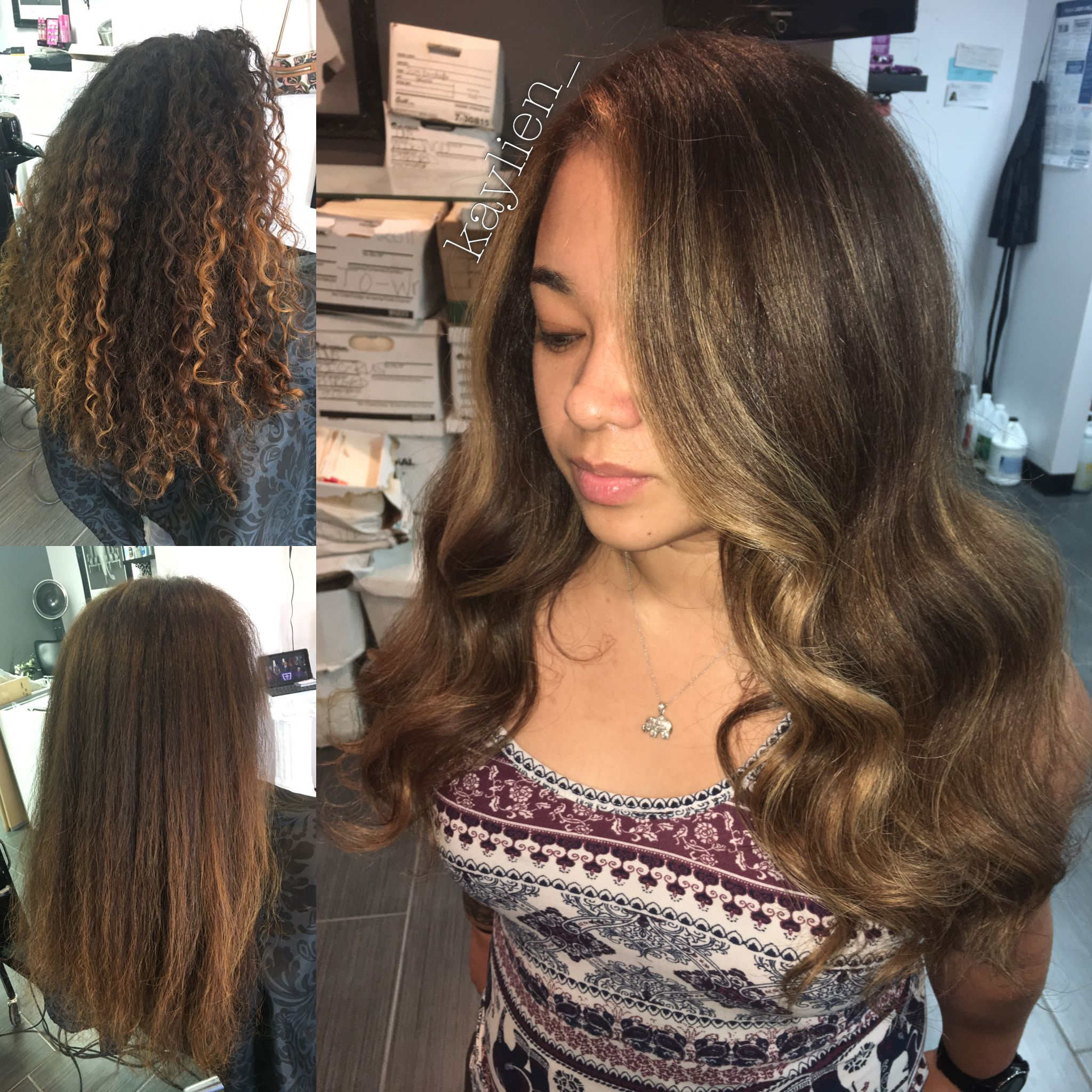 1 Year Grown Out Color To This Lighter Ash Brown Base And Gold Balayage Smoothed With My Blow Dryer Power Styler Ceramic Attachment Then
