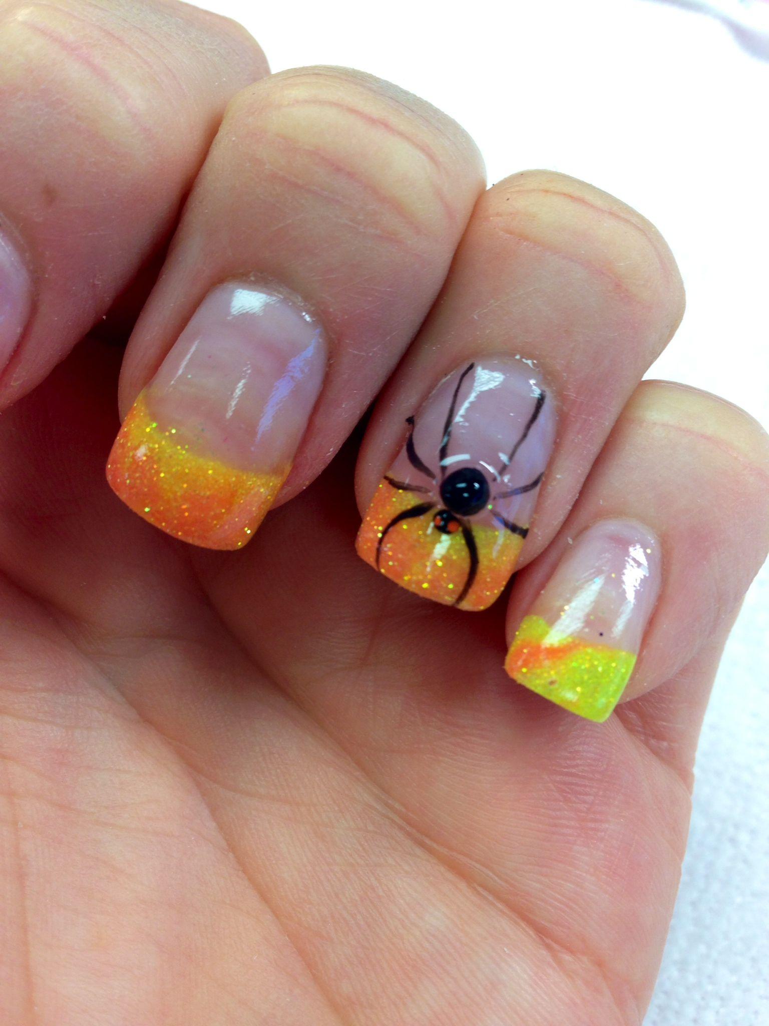 My acrylic nails, nail art, Halloween, fall, 3-D art, colored ...
