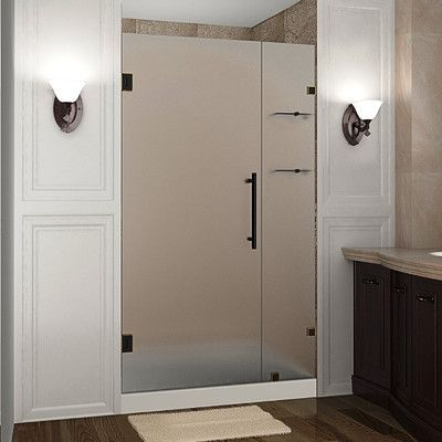 Aston Nautis Gs 37 X 72 Hinged Completely Frameless Shower Door With Shelves Trim Finish Oil Rubbed Bronze Shower Doors Frameless Shower Doors Tub Shower Doors