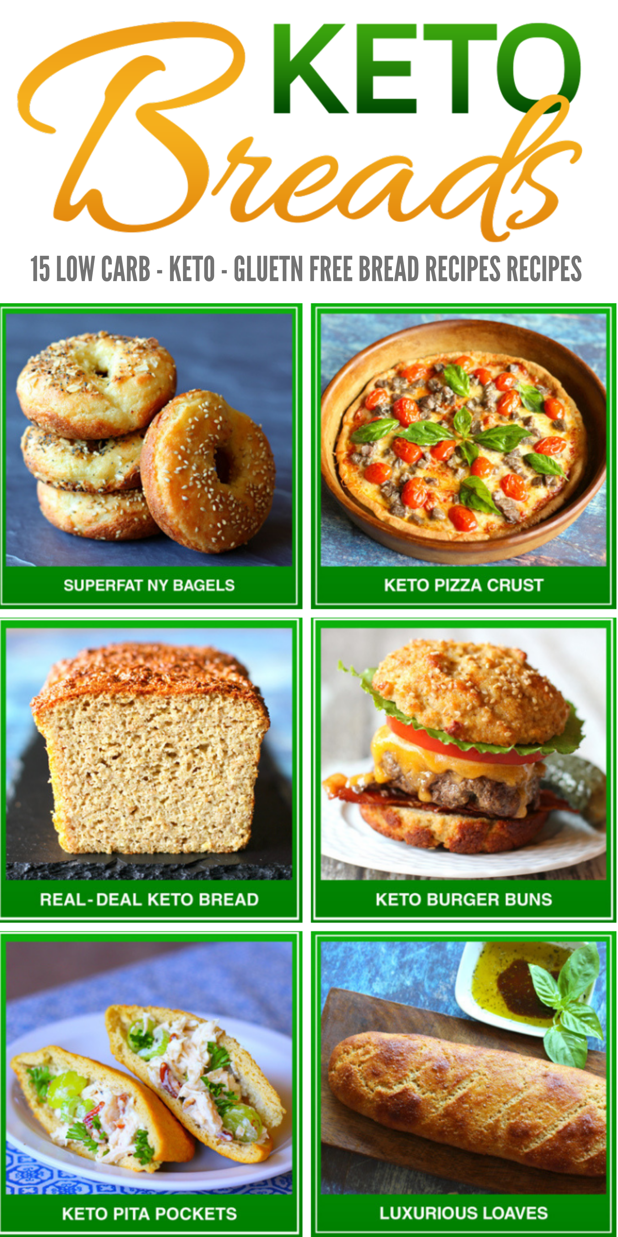 15 Low Carb Keto bread recipes, now you can eat bread as much as you want and still not carry it around your waistline. Make breads using loa carb flour like almond flour, coconut flour and others. You'll find alternatives to all types of breads you can imagine.