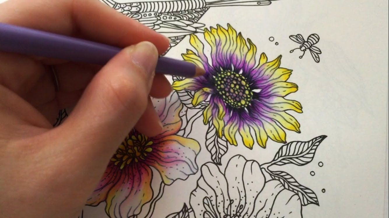 spring flower 25 daydreams coloring book coloring with colored pencils