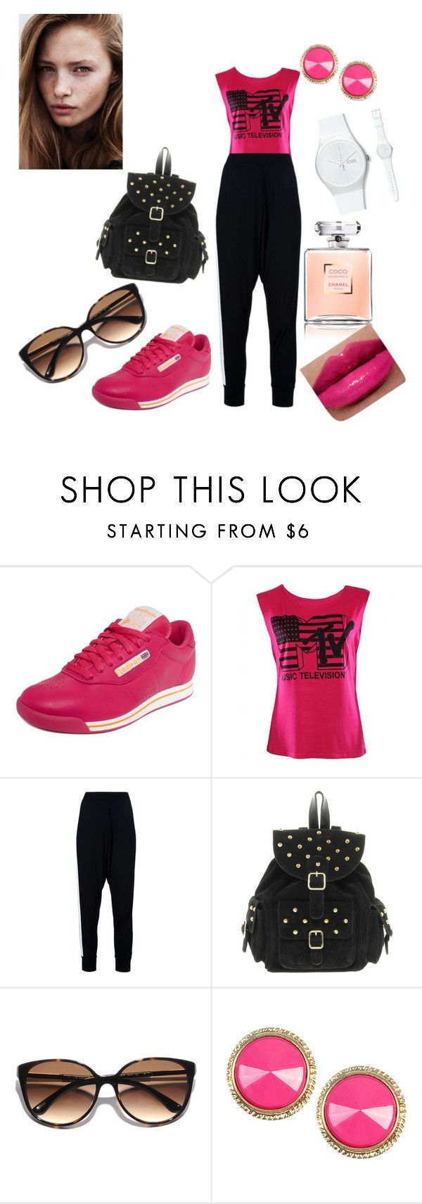 """""""mi pinta de hoy"""" by johana91-91 ❤ liked on Polyvore featuring Reebok, Lounge Lover, ASOS, Kate Spade, Swatch, Wet Seal and Chanel"""