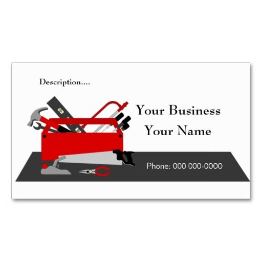Construction Tool Box Business Card Template 2 Carpenter Business