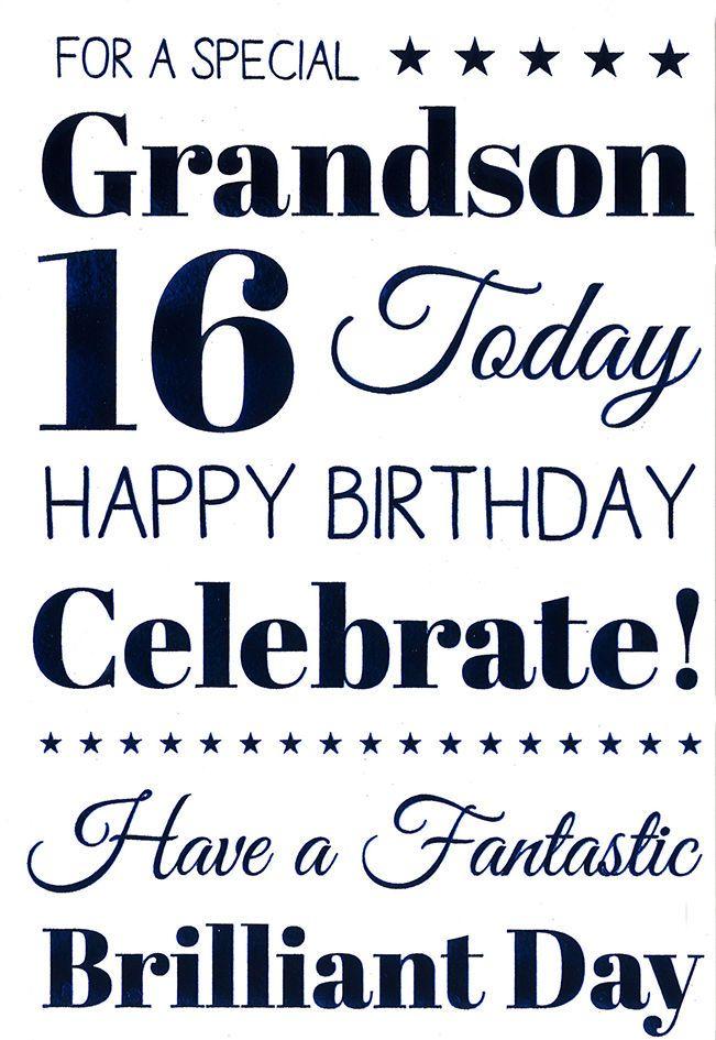 Icg Grandson 16th Birthday Card Dark Blue Text Triangles Tiny Stars 9 X 6 16th Birthday Wishes Grandson Birthday Quotes Happy Birthday Grandson