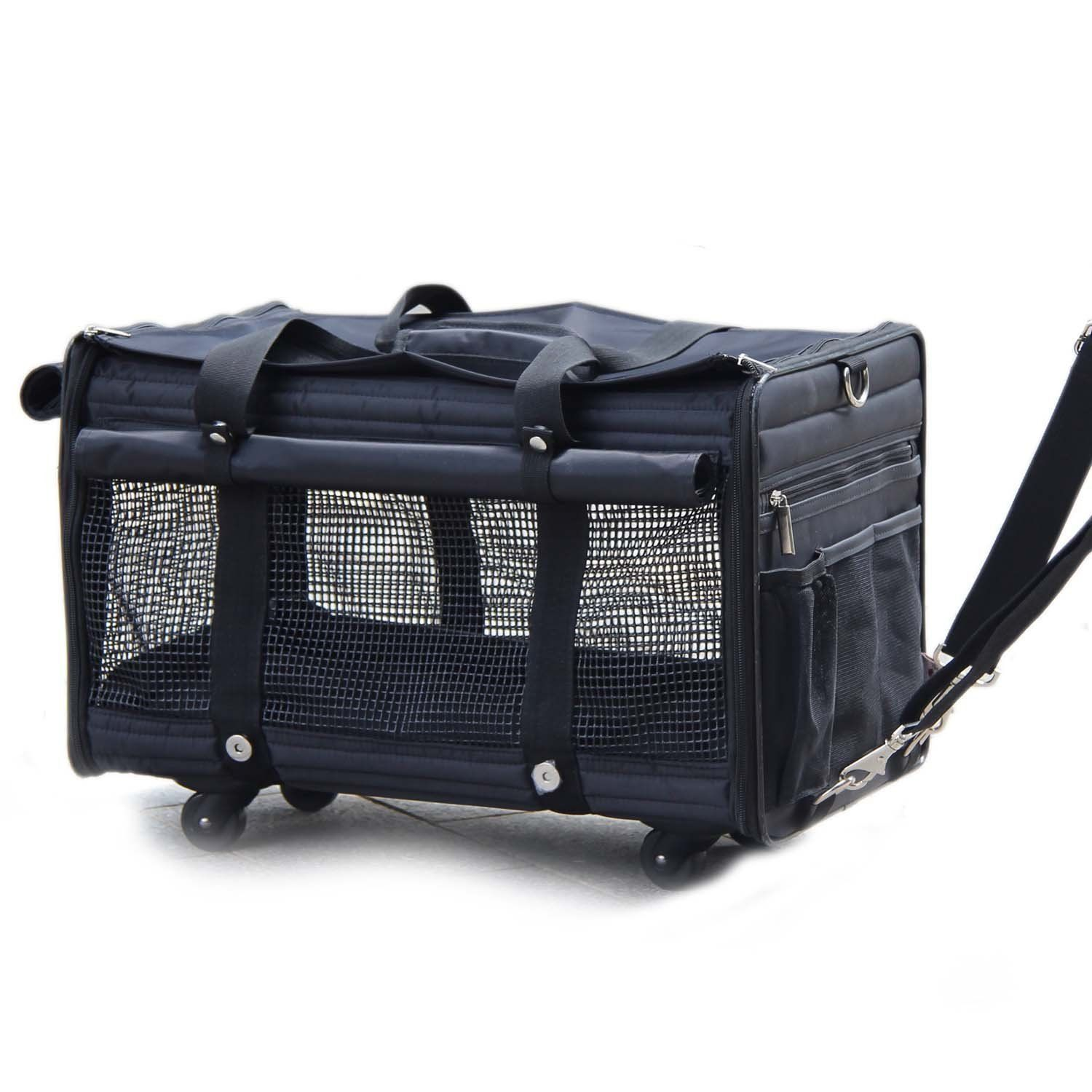 Deluxe Black Soft Sided Pet Carrier On Wheels Dog Carrier Bag