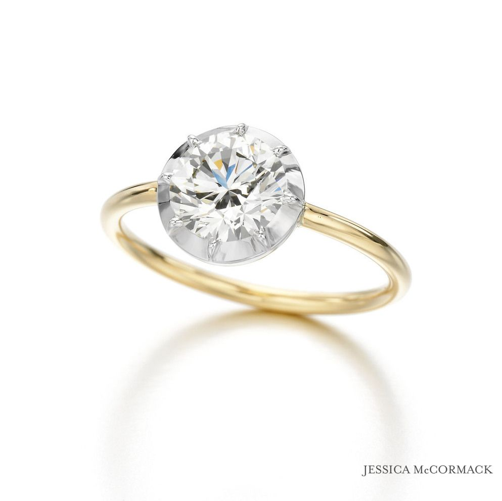Jessica Mccormack Round Brilliant Diamond Button Back Engagement Ring { Diamond, Yellow Gold, White