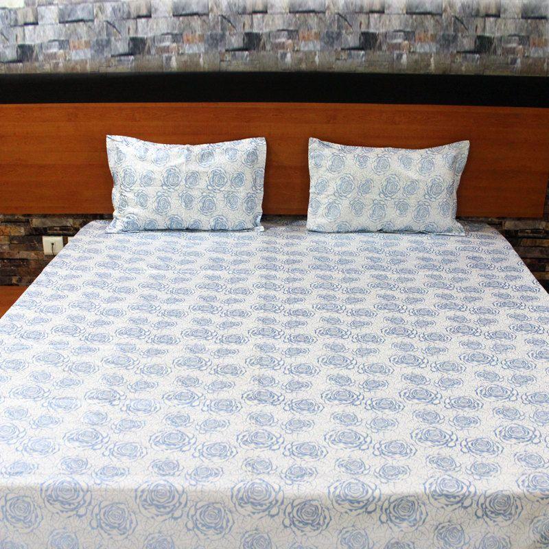 Printed Bedding Set-Blue Roses Desgin-Handmade by NeedleEyesBoutique on Etsy