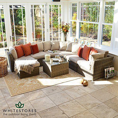 Maze Rattan Winchester Rattan Conservatory Furniture Corner Sofa Set